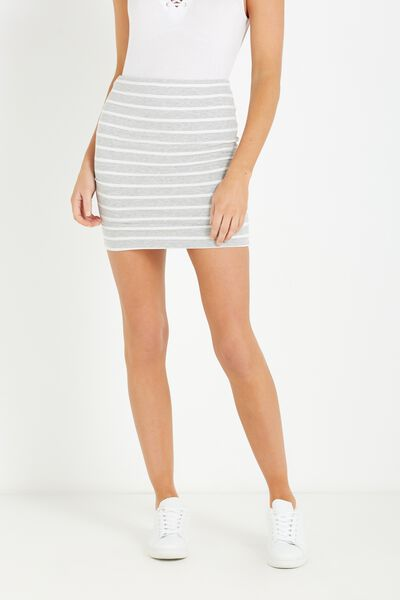 Mini Tube Skirt, GREY MARLE/WHITE STRIPE