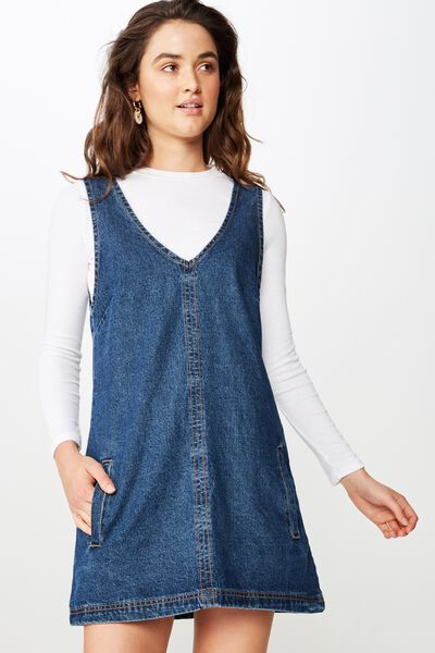 Front Pocket Denim Pinafore, MID BLUE