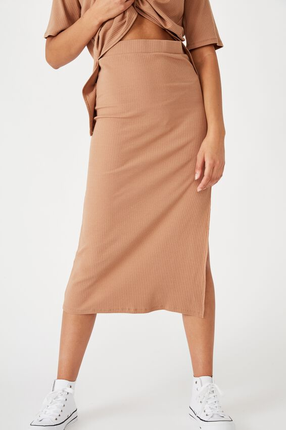 Bella Rib Midi Skirt, HERITAGE BROWN