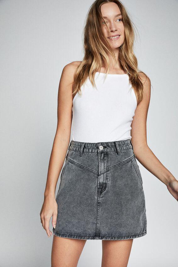 The Classic Denim Skirt, ULTRA WASHED BLACK YOKE
