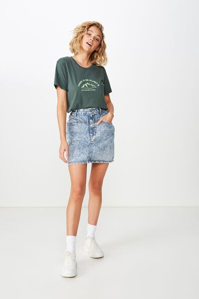 Classic Slogan T Shirt, TAKE CARE/JUNGLE GREEN
