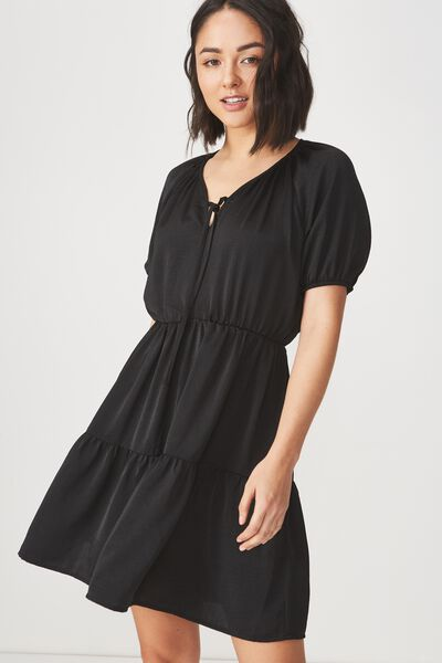 Woven Satin Button Up Tea Dress, BLACK