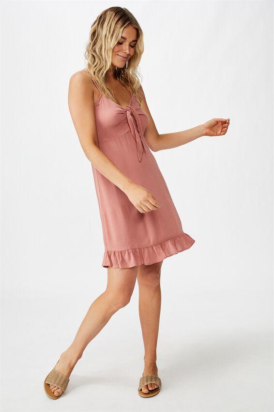 Woven Kiara Tie Front Mini Dress, CANYON ROSE
