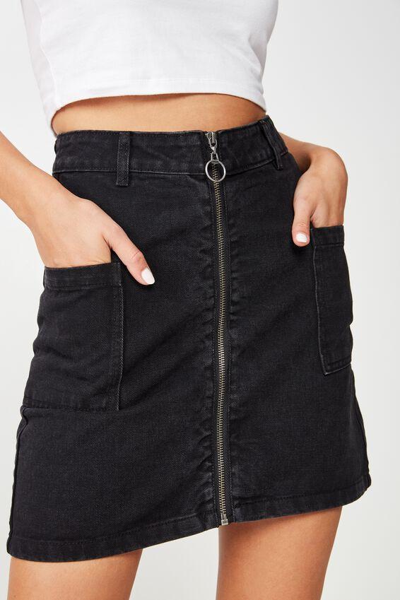A Line Zip Front Denim Skirt, WASHED BLACK