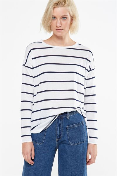 Kelly Long Sleeve Top, NINA STRIPE WHITE/NAVY
