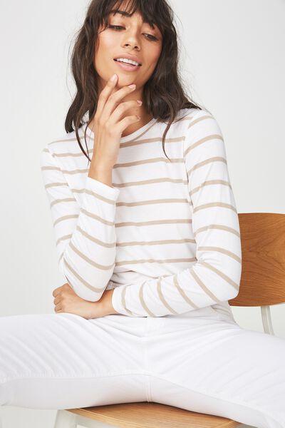 Kathleen Long Sleeve Top, MIRI STRIPE WHITE/LATTE MARLE