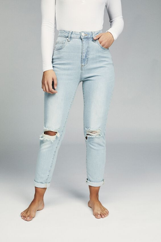 Stretch Mom Jean, BROOKLYN BLUE RIPS