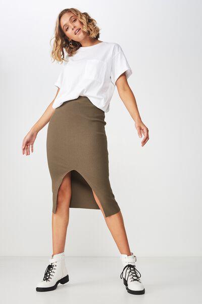 Cleo Knit Tube Skirt, BURNT OLIVE
