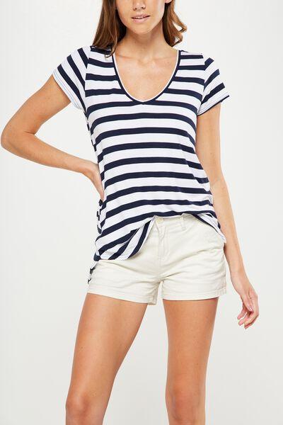Keira Short Sleeve V-Neck T Shirt, BLOCK STRIPE WHITE/NAVY