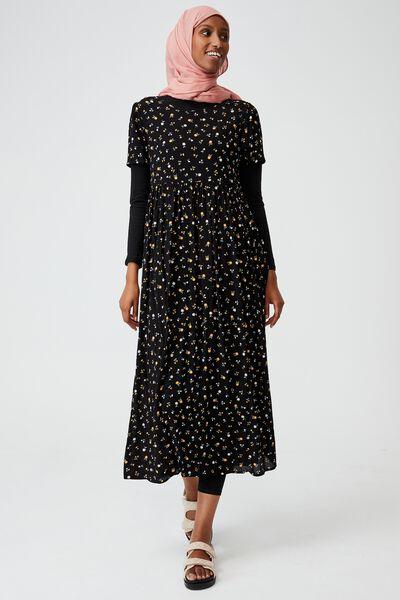Woven Kimberly Babydoll Short Sleeve Maxi Dress, DELILA DITSY BLACK