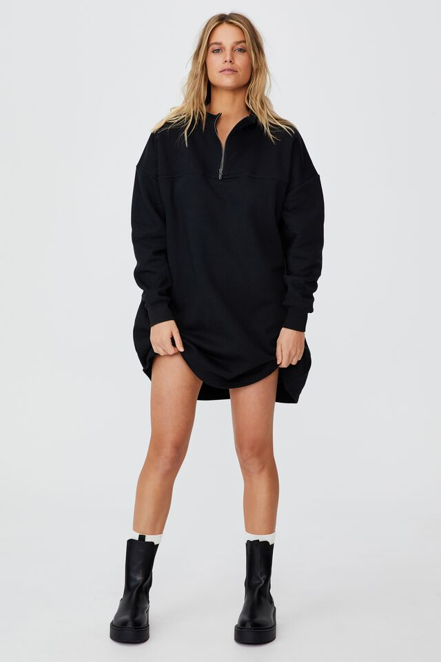 Zizzy Zip Sweater Mini Dress, BLACK