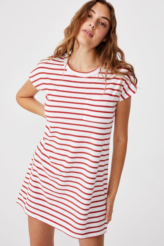 Terry Tshirt Dress, WHITE/RED CLAY STRIPE