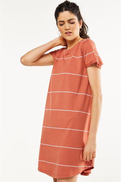 Tina Tshirt Dress 2, REDWOOD/WHITE LARGE WIDE STRIPE