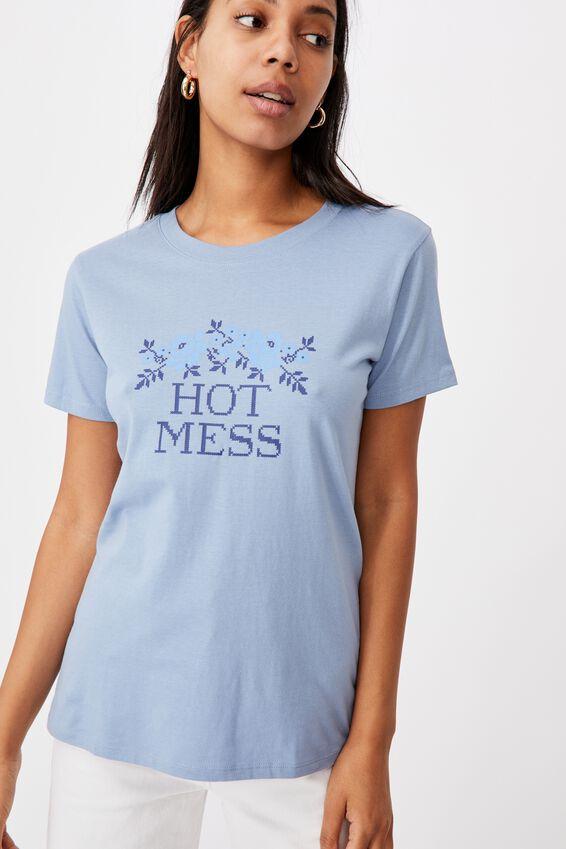 Classic Slogan T Shirt, HOT MESS/SKY BLUE