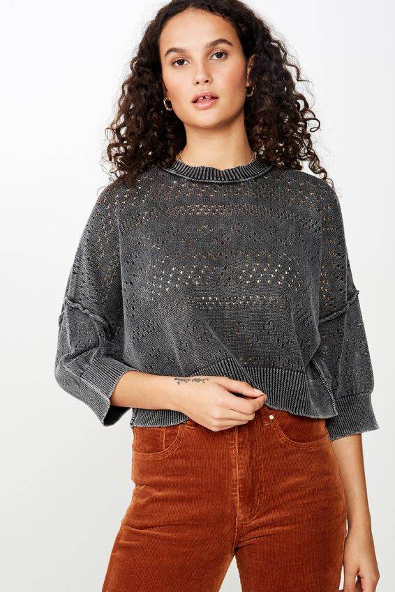 Coldwash Pointelle Wide Sleeve Pullover, BLACK