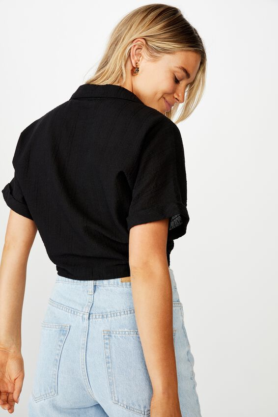 Sasha Tie Front Shirt, BLACK