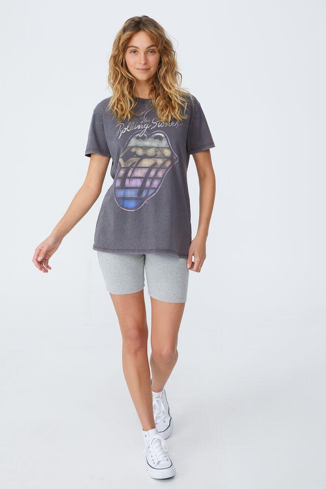 Classic Rolling Stones T Shirt, LCN BR ROLLING STONES RAINBOW TONGUE/EBONY