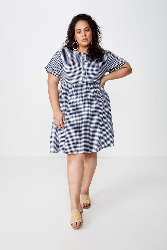 Curve Woven Button Front Dress, ABBY GINGHAM BLUE/WHITE