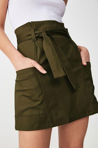 Woven Voss Utility Mini Skirt, OLIVE