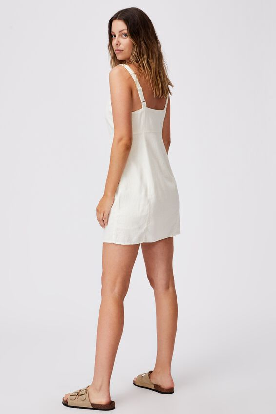 Woven Libby Strappy Mini Dress, CHALK WHITE