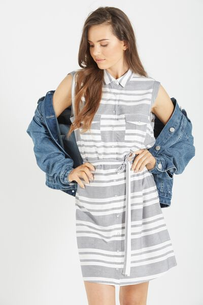 Woven Tilly Sleeveless Shirt Dress, PAINTED STRIPE WHITE