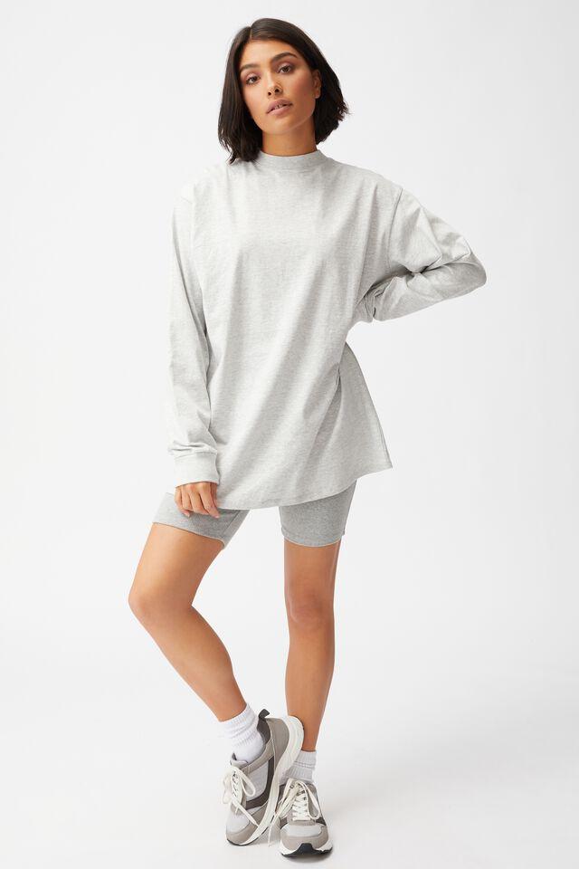 Basic Oversized Long Sleeve Top, LIGHT GREY MARLE