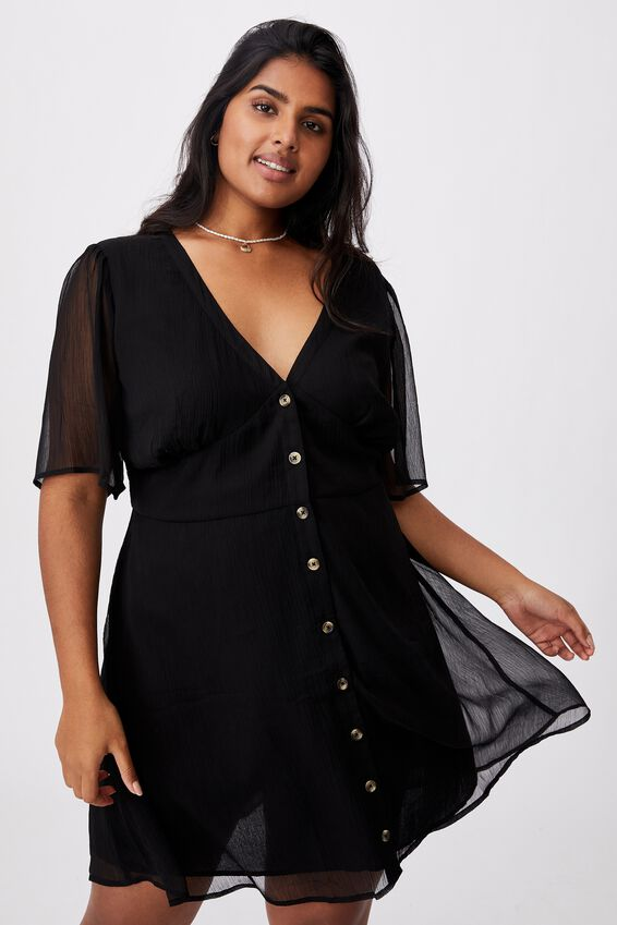 Curve Dana Puff Sleeve Mini Dress, BLACK