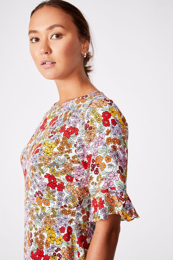 Woven Thelma Retro 3/4 Slv Fit And Flare Shift Min, ELLIE FLORAL MULTI