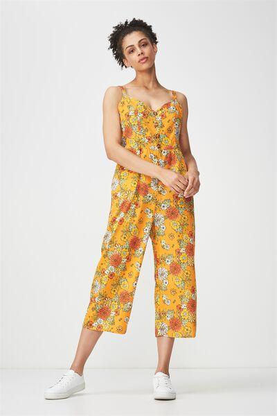 Woven Toni Strappy Jumpsuit, LISA FLORAL FLAME ORANGE