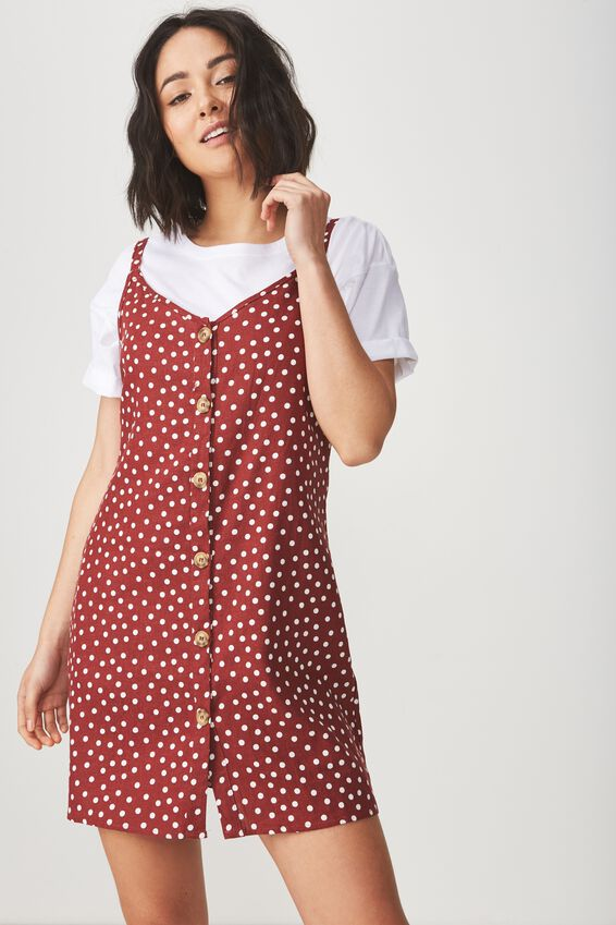 Woven Margot Slip Dress, BUTTON THROUGH RENE SPOT ROSEWOOD