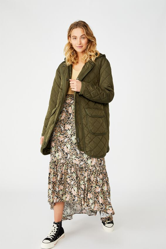 Quilted Hooded Parka, KHAKI
