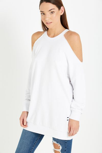Clancy Cold Shoulder Sweater, WHITE