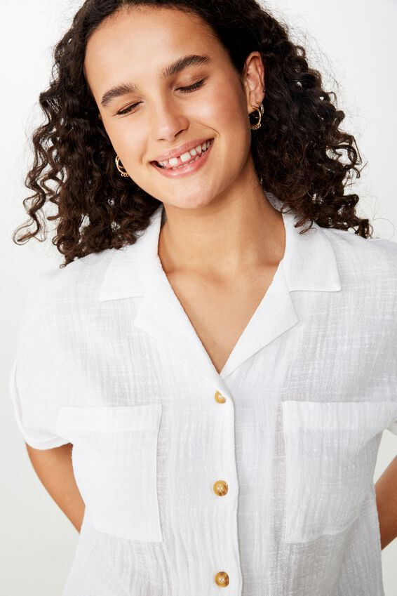 Erika Short Sleeve Shirt, WHITE