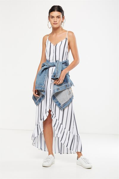 Woven Katrina Button Through Hi Low Maxi Dress, LEXI VERTICAL STRIPE BRIGHT WHITE