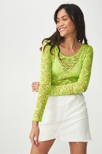 Lace Long Sleeve Bodysuit, GREEN GLOW