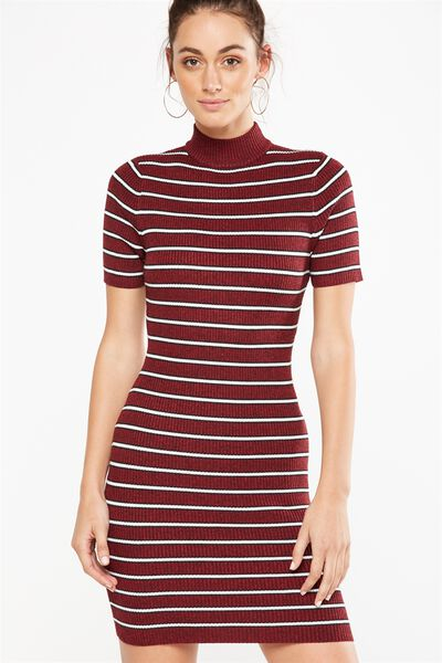 Avon Bodycon Mini Dress, TIBETAN/BLACK/WHITE MINI SALMA STRIPE