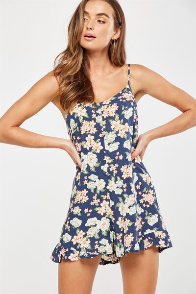 Woven Lily Strappy Frill Playsuit, EDWINA FLORAL TOTAL ECLISPE