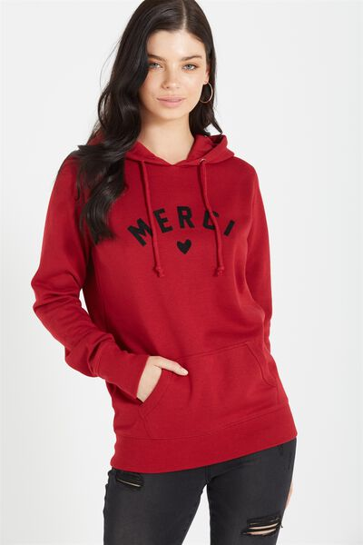 Delevingne Graphic Hoodie, MERCI/RUBY RED