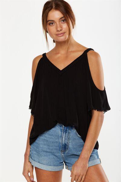 Tia Cold Shoulder Top, BLACK