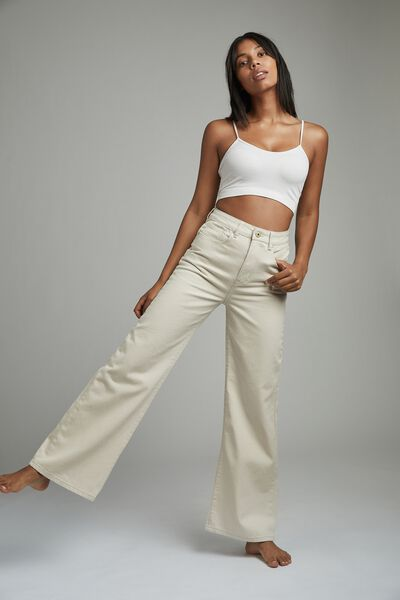 Long Wide Leg Jean, CHALK