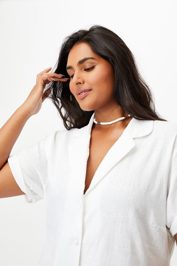 Curve Shirt Dress, WHITE