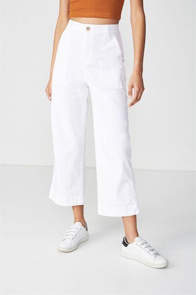 Wide Leg Chop Pant, WHITE