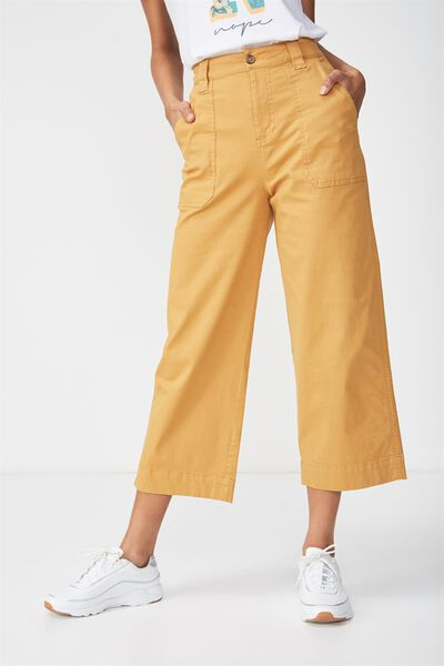 Wide Leg Chop Pant, SPRUCE YELLOW