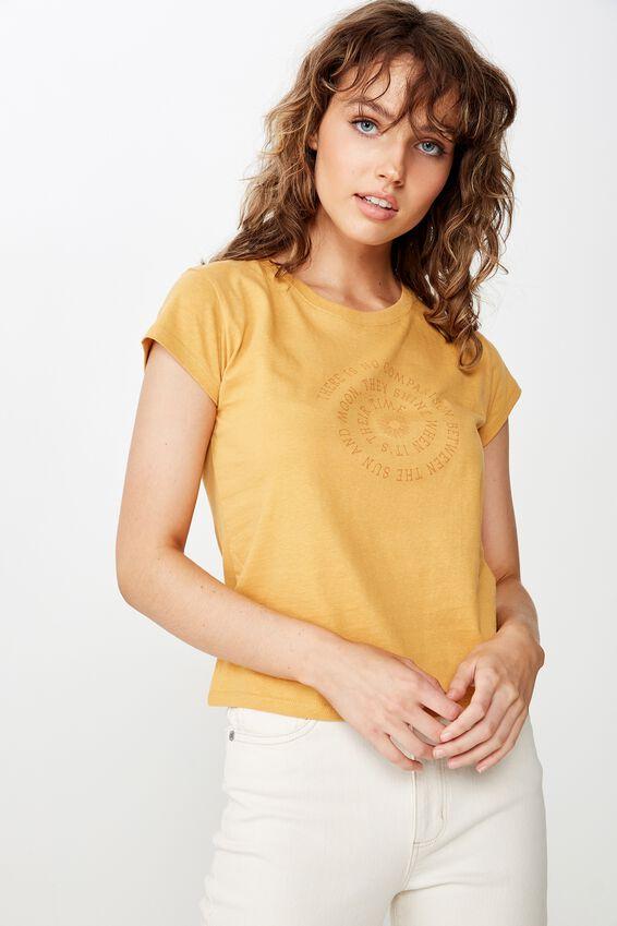 Essential Slogan T Shirt, SUN AND MOON/HONEY YELLOW