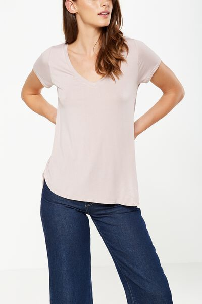 Keira Short Sleeve V-Neck T Shirt, MAUVELOUS