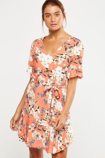 Woven Matina 3/4 Sleeve Dress, DANI FLORAL EMBERGLOW