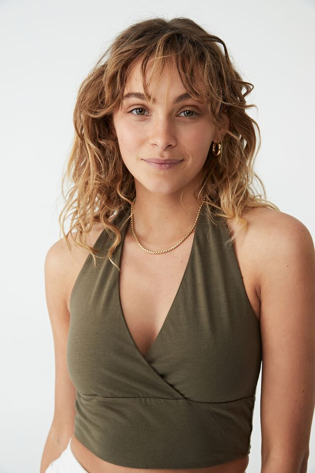 Rory Cross Front Halter, DUSTY OLIVE