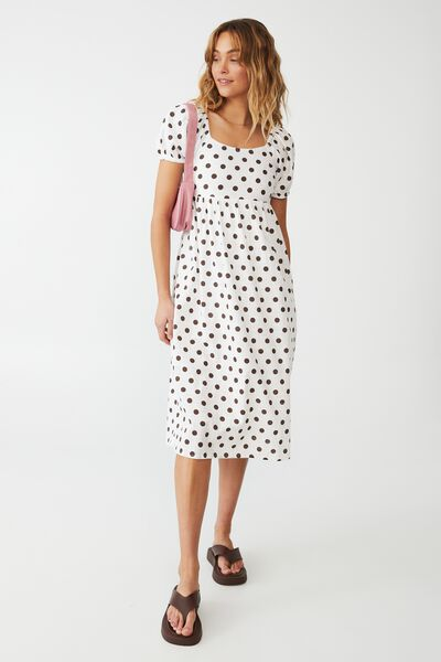 Woven Petite Mariah Midi Dress, HAYLEY SPOT ACORN WHITE
