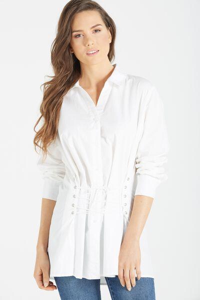 Corset Shirt, WHITE