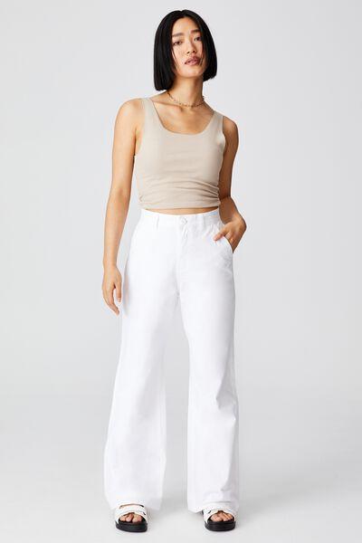Petite Parker Long Straight Pant, CHALK WHITE